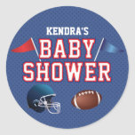Red and Blue Football Baby Shower Round Sticker