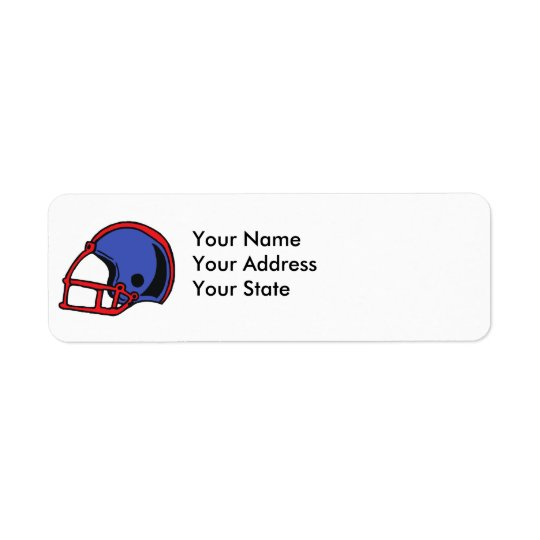 red and blue football helmet graphic