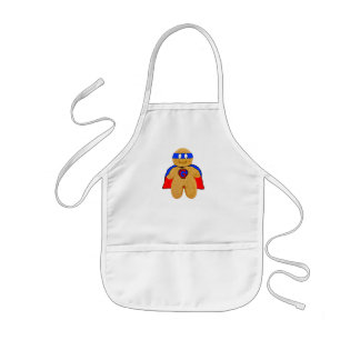 red and blue gingerbread man super hero apron