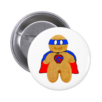 red and blue gingerbread man super hero badge