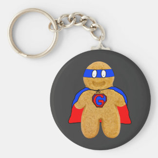 red and blue gingerbread man super hero key-chain key ring