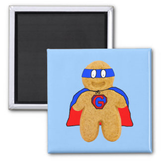 red and blue gingerbread man super hero magnet