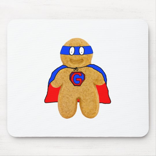 red and blue gingerbread man super hero mouse mat