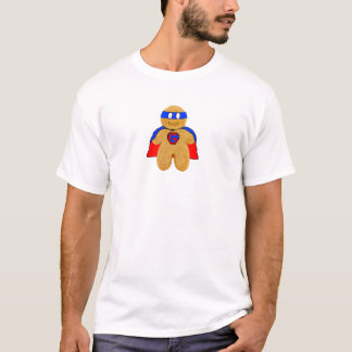 red and blue gingerbread man super hero t-shirt