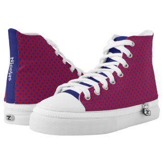 Red and Blue Gingham Pattern Personalized Name Printed Shoes