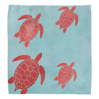 Red and Blue Green Sea Turtle Bandana