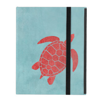 Red and Blue Green Sea Turtle iPad Case