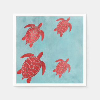 Red and Blue Green Sea Turtle Paper Napkin