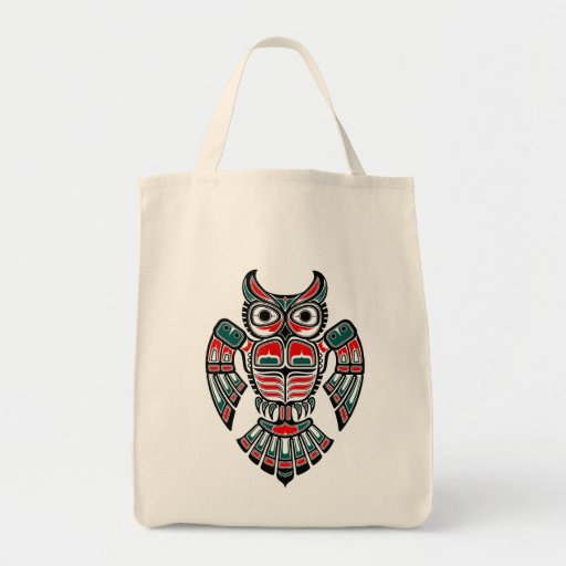 Red and Blue Haida Spirit Owl Canvas Bag
