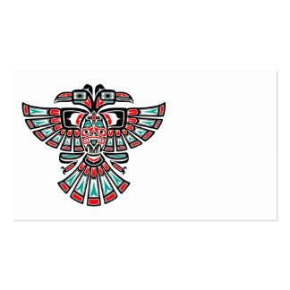 Red and Blue Haida Two Headed Spirit Bird Business Card Templates