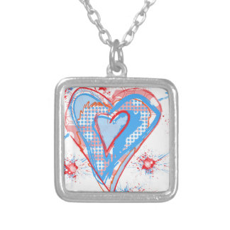 Red and blue heart square pendant necklace