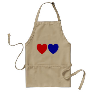 Red And Blue Hearts, Abstract Art Print Standard Apron