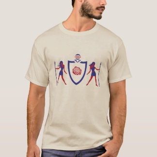 Red and Blue Heraldic Rose T-Shirt