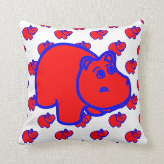 Red and Blue Hippo Cushion