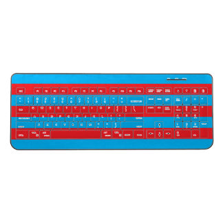 Red and Blue Horizontal Stripes Wireless Keyboard