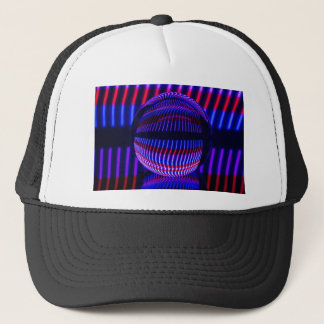 Red and blue in the glass ball trucker hat