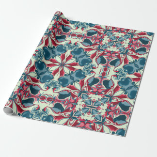Red and Blue Kaleidoscope Pattern #1 Wrapping Paper