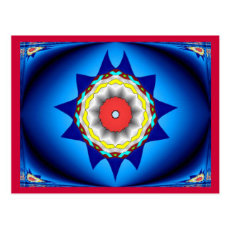 Red and Blue kaleidoscope Postcard