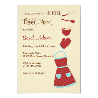 Red and Blue Kitchen Bridal Shower Invitation