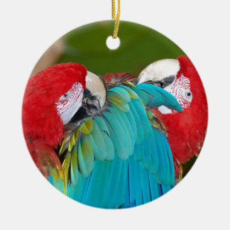 Red and blue macaw parrot print christmas ornament