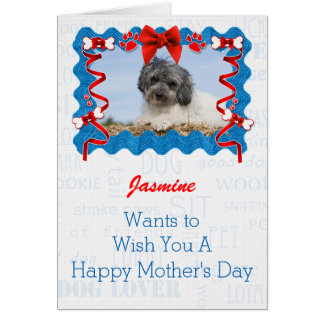 Red and Blue Mother's Day from the Dog Greeting Card