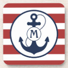 Red and Blue Nautical Anchor Monogram Coaster