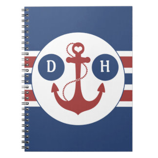 Red and Blue Nautical Anchor Notebooks