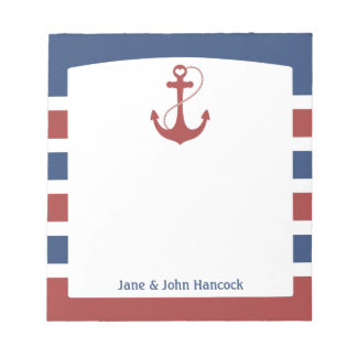 Red and Blue Nautical Anchor Notepad