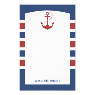 Red and Blue Nautical Anchor Stationery