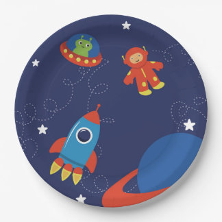 Red and Blue Outer Space Kids Paper Plate