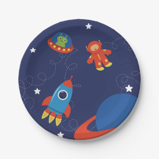 Red And Blue Outer Space Paper Plate 7 Inch Paper Plate