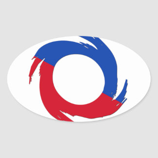 Red And Blue Oval Sticker
