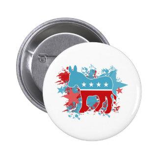 Red and Blue Paint Splatters Democrat Donkey 6 Cm Round Badge
