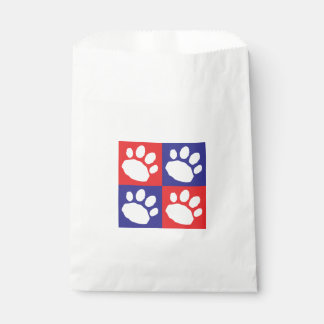 Red and Blue Paw Print Checkerboard Doggie Bag