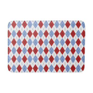 Red and Blue Plaid Bath Mats