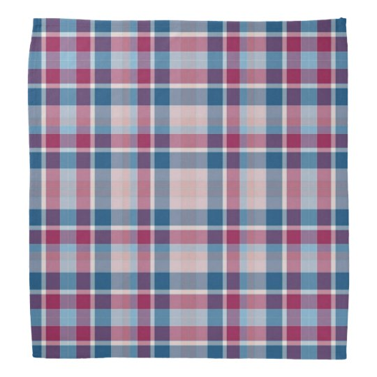 Red and blue plaid chequerboard dog bandana