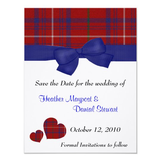 Red and Blue Plaid Save the Date Announcement
