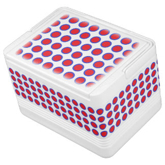 Red and Blue Polka Dots White Igloo Cooler