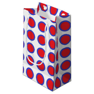 Red and Blue Polka Dots White Small Gift Bag