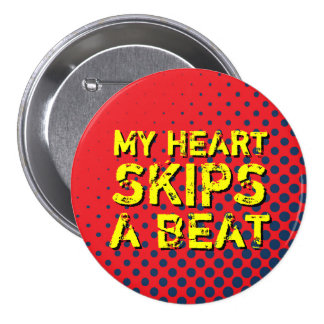 Red and Blue Retro Halftone I Love Music Button