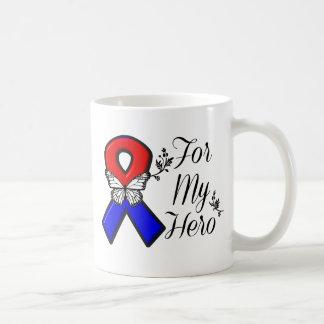 Red and Blue Ribbon For My Hero Basic White Mug