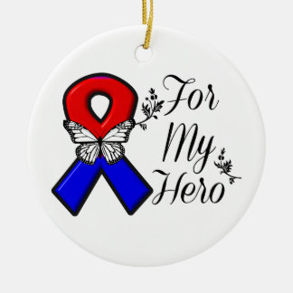 Red and Blue Ribbon For My Hero Round Ceramic Decoration