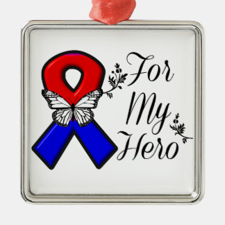 Red and Blue Ribbon For My Hero Silver-Colored Square Decoration
