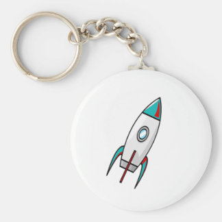 Red and Blue Rockets Basic Round Button Key Ring