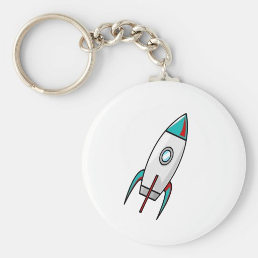 Red and Blue Rockets Key Chain