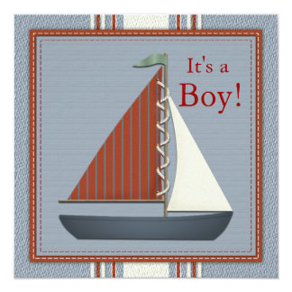 Red and Blue Sailboat Baby Shower Card