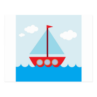 Red and Blue Sailboat on the Sea Postcard