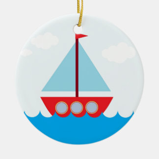 Red and Blue Sailboat on the Sea Round Ceramic Decoration