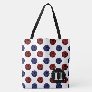 Red and Blue Soccer Balls on White Monogram Tote Bag