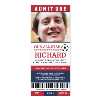 Red and Blue Soccer Graduation Party Invites